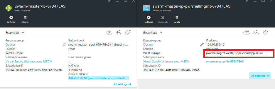 Azure container service master dns